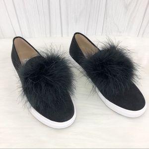 Steve Madden Emily Faux Fur Black Slip-On Sneaker